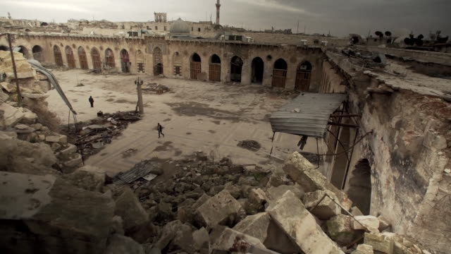 Views of the Umayyad Mosque of Aleppo which has sustained heavy damage during the Syrian civil war