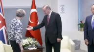 Views of Theresa May with Moon Jaein the South Korean President President Erdogan of Turkey and Ivanka Trump of the USA at the United Nations in New...
