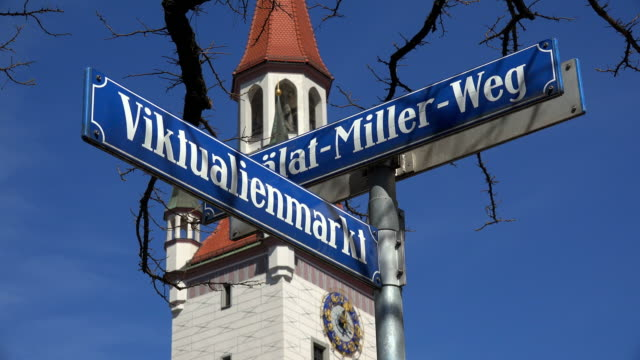Viktualienmarkt sign and Old City Hall, Munich, Bavaria, Germany
