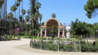 Villa Giulia (Villa del Popolo), southern exedra with the central fountain with sundial, Palermo, Sicily.