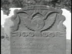 Village church w/ cemetery FG CU Tombstone dated 1786 CU 'In Memory of' headstone NEW ORLEANS HA LS Street w/ church at end WS Street scene in French...