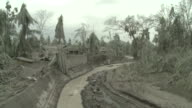 Village devastated by heavy Ashfall from eruption of Merapi volcano; Indonesia. 7 November 2010 / AUDIO