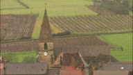 MS HA Village houses and church steeple / Burgundy, France
