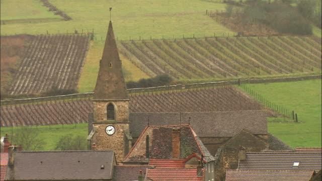 MS HA Village houses and church steeple / Burgundy, France