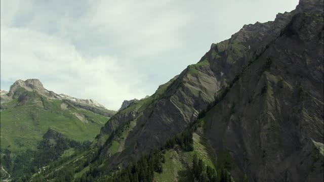 AERIAL Village in Alpine valley, Valais, Switzerland