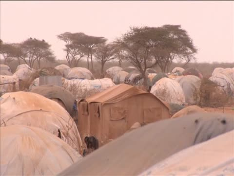 Village suffering from drought in East Africa