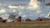 Village under cloudy skies