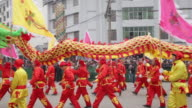 MS PAN Villagers performing dragon dance in traditional festive folk celebration or carnival during chinese spring festival / xi'an, shaanxi, china