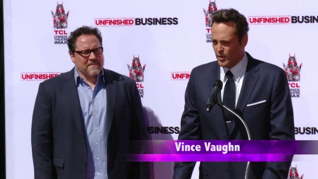 CHYRON Vince Vaughn Immortalized With HandprintFootprint Ceremony at TCL Chinese Theatre IMAX on March 04 2015 in Hollywood California