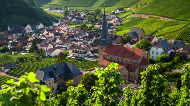 Wijngaard en idyllisch dorpje - rack focus