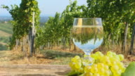 HD DOLLY: Vineyard Scene With Glass Of Wine