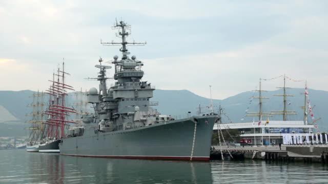 vintage ships in port