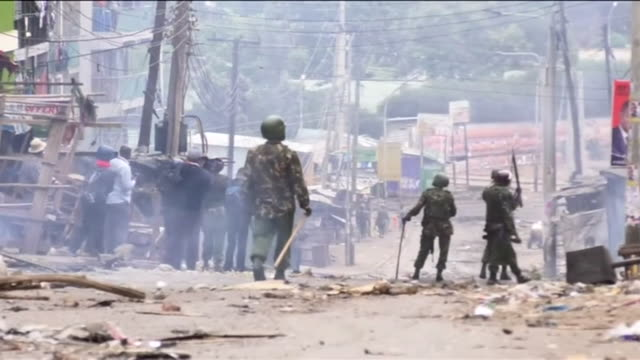 Violent clashes between youths and armed police in Nairobi after the 2017 Kenyan Presidential election