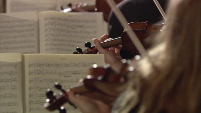 MS R/F Violinists with sheet music performing in orchestra / London, United Kingdom