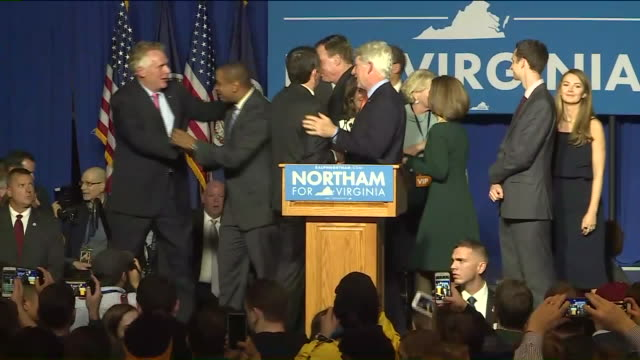 WTVR Virginia GovernorElect Ralph Northam Ends Speech Greets Family Other Winning Democrats at the Northam For Governor election night party at...