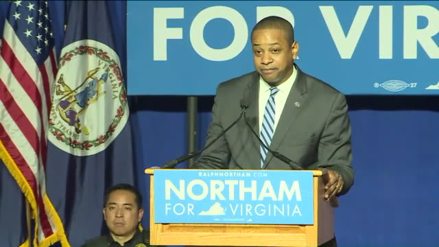 WTVR Virginia Lt Gov Elect Justin Fairfax Speaks to Crowd After Win at the Northam For Governor election night party at George Mason University in...