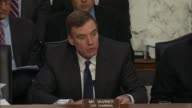 Virginia Senator Mark Warner spends his opening statement at a hearing with former FBI Director James Comey before the Senate Intelligence Committee...