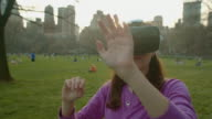 Virtual reality headset googles glasses young Women young