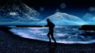Virtual reality training. Man running along rocky coast