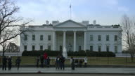 Visitors at North Side of White House in winter