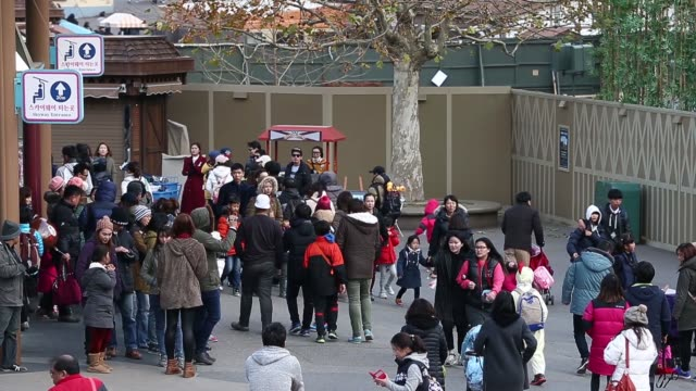 Visitors at the entrance to the Everland Resort operated by Cheil Industries Inc in Yongin Gyeonggi Province South Korea on Friday Nov 14 Visitors...
