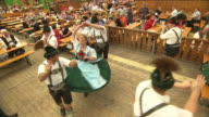 visitors in  the beer tent, bavarian dance group