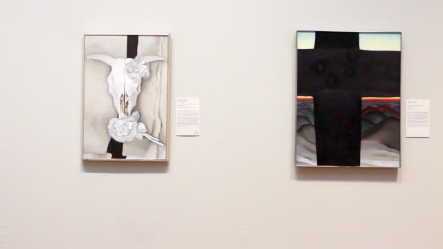 Visitors look over Georgia O'Keeffe paintings at Art Institute of Chicago on September 17 2014 in Chicago Illinois The museum which draws around15...