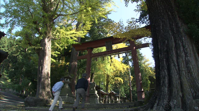 Visitors pass through a torii at the entrance into a Shinto Shrine.