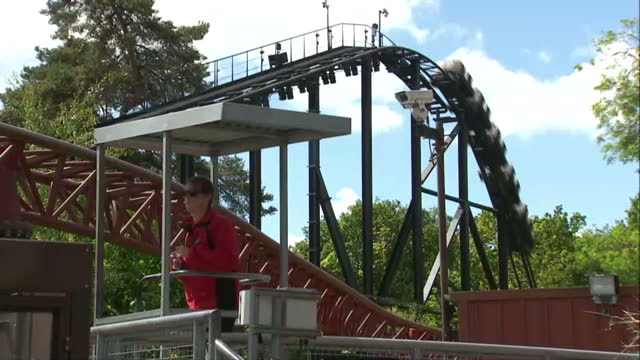 Visitors queueing to ride Rita roller coaster at Alton Towers theme park The park reopened today but the Smiler roller coaster remains closed after...