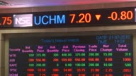 Visitors sit and look at the latest share prices displayed on a digital screen at the Nairobi Securities Exchange Ltd in Nairobi Kenya on Tuesday...
