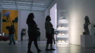 WS Visitors strolling through modern exhibit hall in Broad Contemporary Art Museum / Los Angles, California, USA
