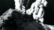 Volcanic eruption on island