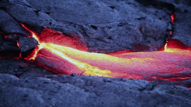 Volcanic lava flowing