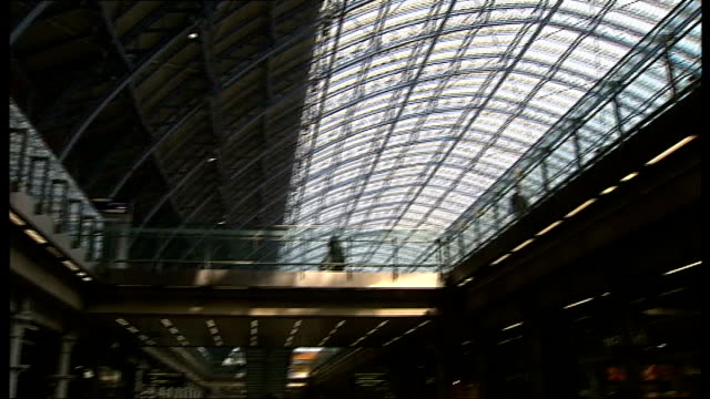 Volcano ash cloud prevents air travel for a 5th day Profiteering travel companies ENGLAND London St Pancras Station INT Close up of arrivals board...