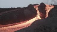Volcano. River of lava. Kamchatka, Russia