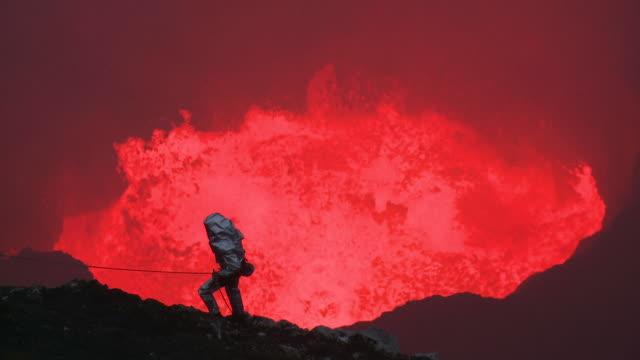 Volcanologist descends into violently erupting volcano, Marum Volcano, Ambrym Island, Vanuatu
