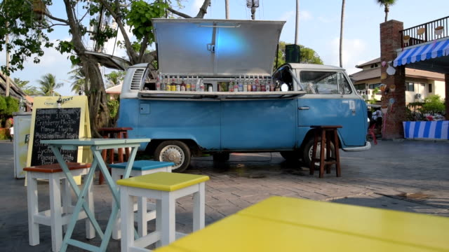 A Volkswagen bus as bar in Fisherman's Village