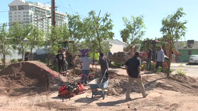 Volunteers rush to complete a community healing garden in Las Vegas Nevada in response to mass shooting carried out by a lone gunman killing 58...