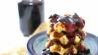 waffle with blueberry jam