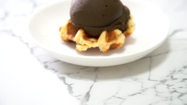 waffle with chocolate ice-cream