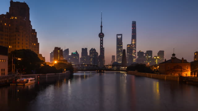 TL ZI, Waibaidu Bridge and Pudong skyline at dawn