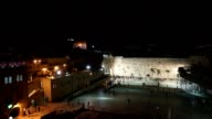 Wailing Wall at night as seen from a balcony