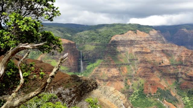 Waimea Canyon State Park Landscape and Waterfall, Kauai, Hawaii