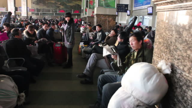 POV WS waiting room of Railway station during Chinese Spring festival travel peak/xian,shaanxi,china