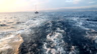 Wake of a sailing sailboat