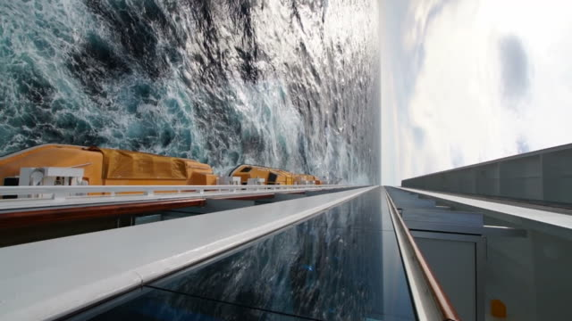 Wake of cruise ship at sea, vertical composition