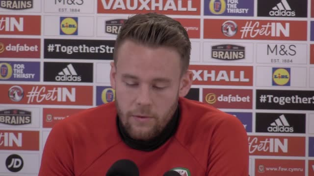 Wales defender Chris Gunter gives a press conference ahead of the team's friendly against Panama in Cardiff