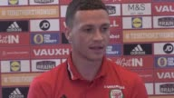 Wales defender James Chester gives a press conference ahead of the team's World Cup qualifier against Austria which will take place in Cardiff