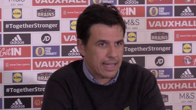 Wales soccer manager Chris Coleman talks about his future in the job and Wales' upcoming friendly internationals against France and Panama during a...
