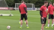 Wales squad training ahead of their 2018 World Cup qualifier against Austria in Cardiff Wales manager Chris Coleman and his staff coach the squad...